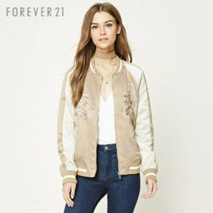 FOREVER 21 - WOMEN'S TAN BOMBER JACKET SIZE SMALL